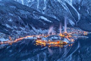 Фото бесплатно Одда, Odda коммуна в губернии Хордаланн, Норвегия, зима, горы, водоём, озеро, деревья, пейзаж