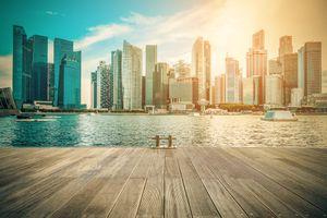 Обои Винтажное изображение, горизонт, город, Сингапур, центр города, в дневное время