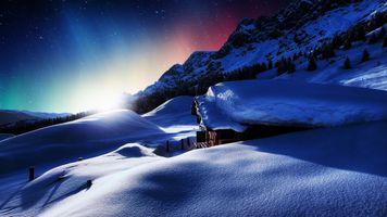 Бесплатные фото зима,сияние,свечение,снег,сугробы,домик,горы