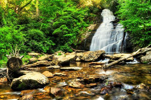 Фото бесплатно Helton Creek Falls, водопад, скалы