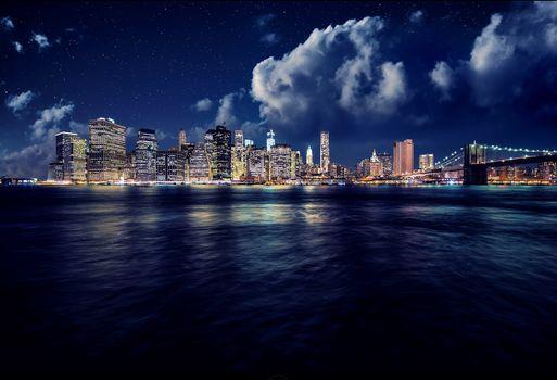 Фото бесплатно Манхэттен, ночь, Нью-Йорк