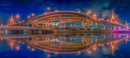 Бесплатные фото Панорамный вид на мост Бхумибол, Бангкок, Таиланд, панорама