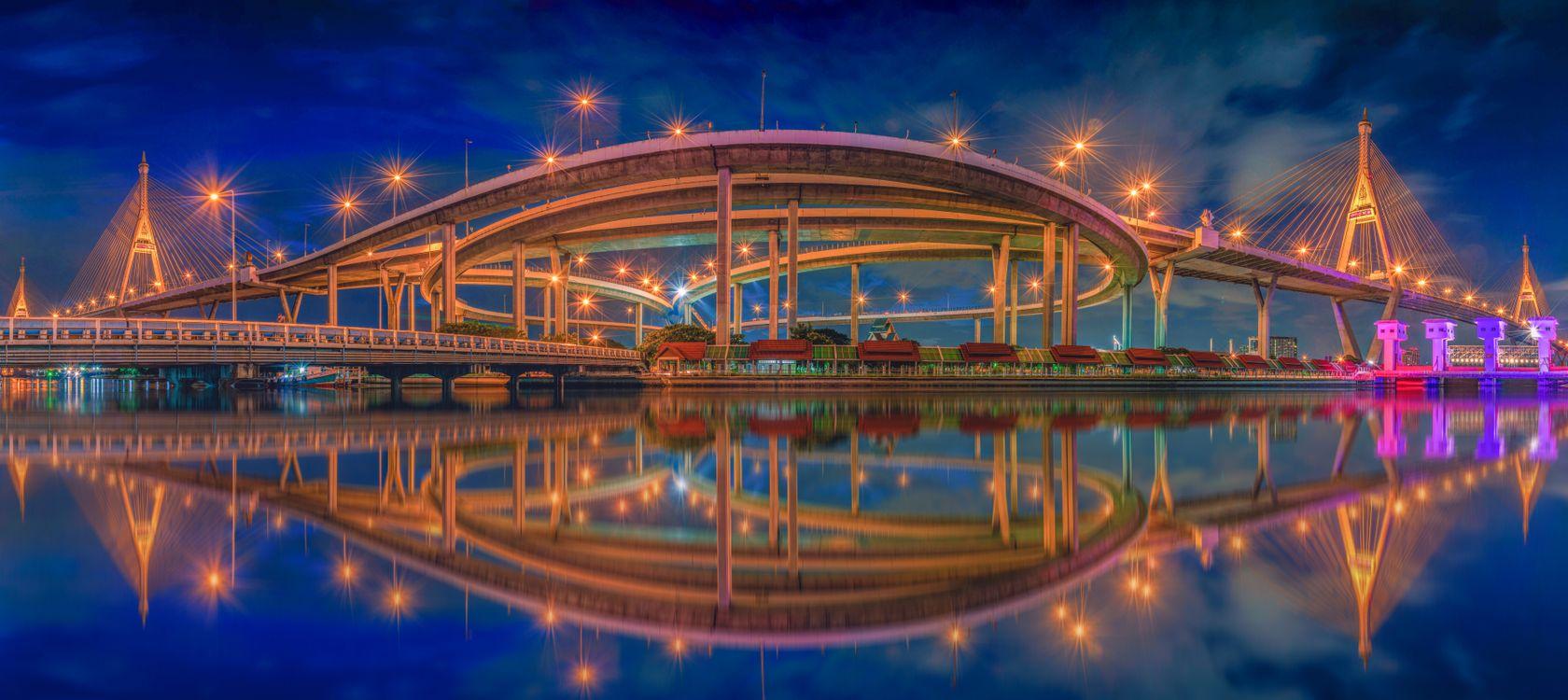 Фото Панорамный вид на мост Бхумибол Бангкок Таиланд - бесплатные картинки на Fonwall