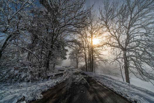 Заставка закат, зима, дорога