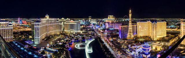 Фото бесплатно архитектура, огни Лас-Вегас роскошный отель, синий час