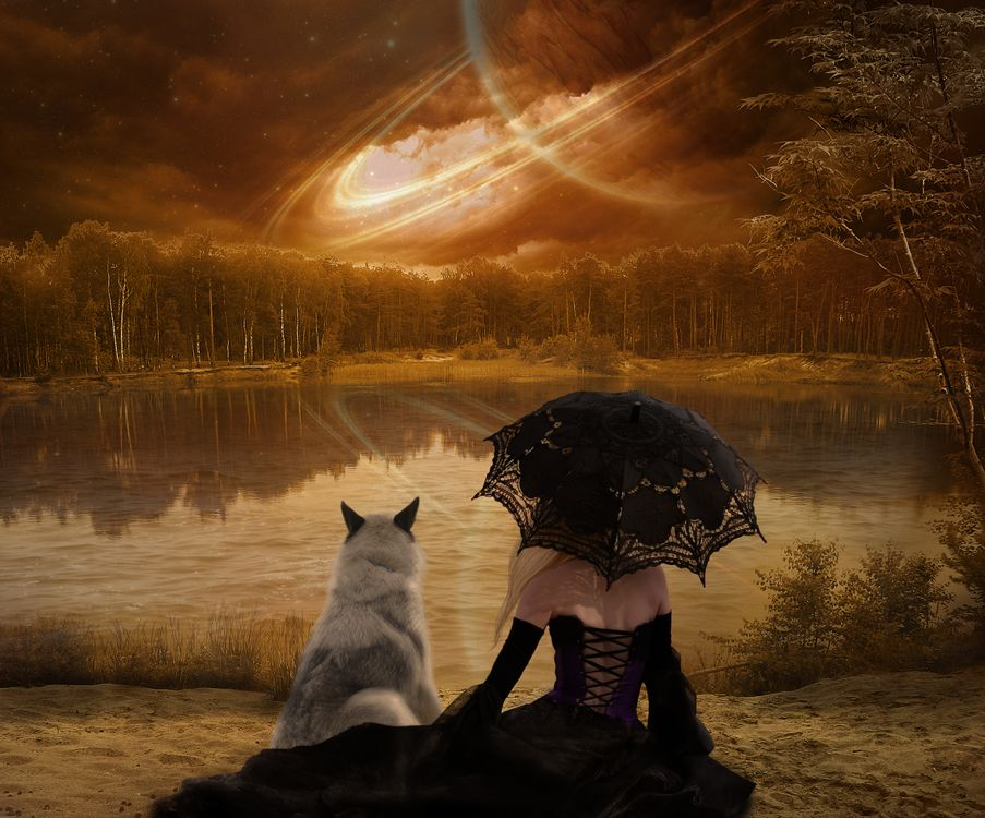 Фото бесплатно осень, озеро, деревья, лес, берег, девушка с зонтом, собака, сияние, art, рендеринг