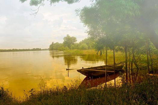 Фото бесплатно лодка, туман, лес