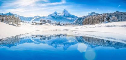 Фото бесплатно пейзаж, озеро, снег