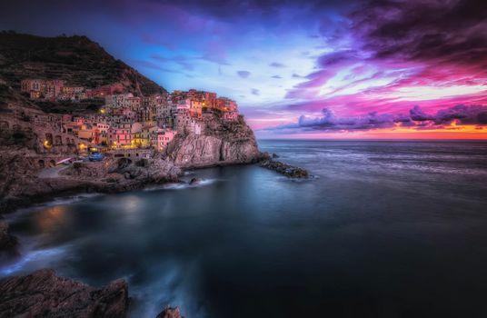 Заставки Cinque Terre, закат, Italy