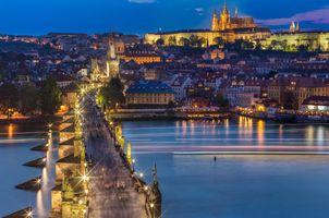 Фото бесплатно Река Влтава, ночные города, Чехия
