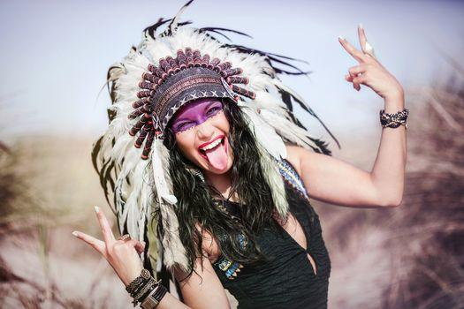 Photo free the girl, Pocahontas, makeup