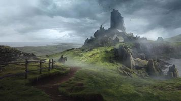 Заставки фантастический пейзаж, темная погода, поле