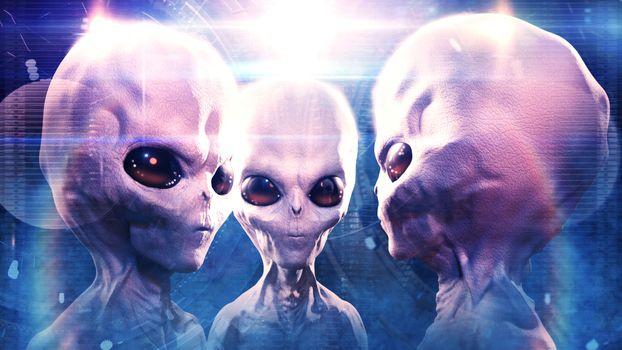 Фото бесплатно Инопланетяне, большие глаза, трое
