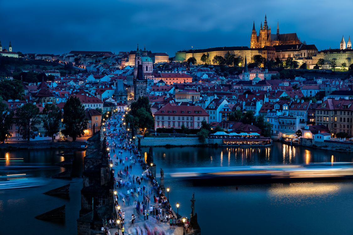 Фото бесплатно Карлов мост, Прага, Чехия, ночь, город