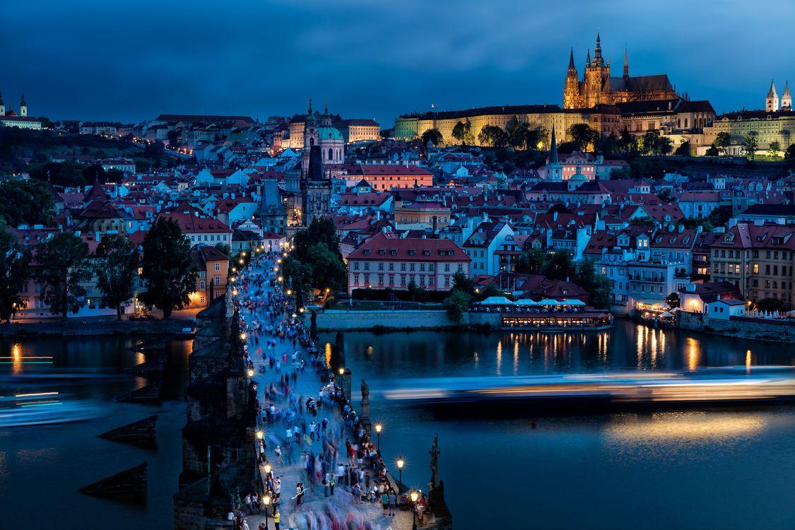 Фото бесплатно ночь, Карлов мост, Чехия - на рабочий стол