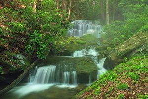 Заставки водопад, течение, лес, деревья, туман, каскад, камни, пейзаж