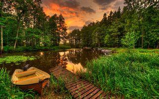 Заставки лодки, лес, пейзаж, река, закат