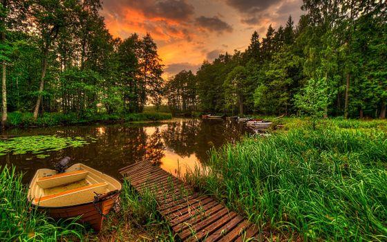 Фото бесплатно лодки, лес, пейзаж, река, закат