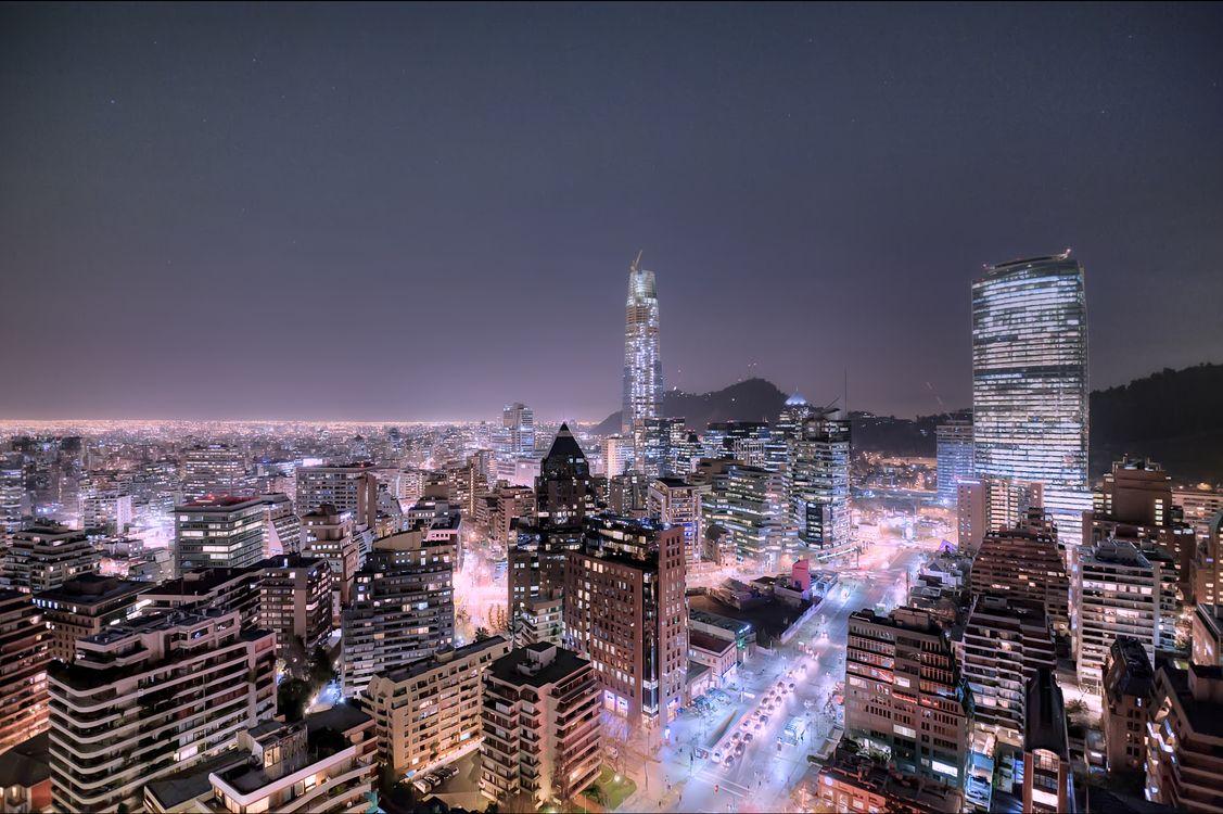 Обои Сантьяго, Чили, ночь, иллюминация, ночные города на телефон | картинки город