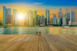 Обои Сингапур, городской горизонт, центр города, закат, пристань