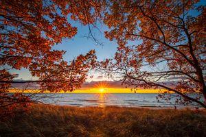 Заставки Озеро Мичиган, закат, США