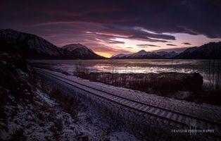 Бесплатные фото железная дорога,горы,озеро,снег,осень,закат,восход