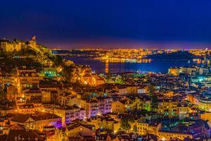 Заставки город, ночной город, Лиссабон