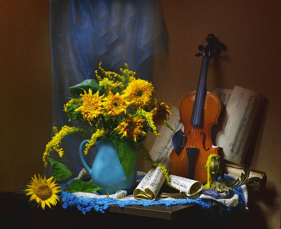Обои скрипка, картина, букет картинки на телефон