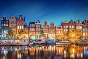 Фото бесплатно Амстердам, освещение, ночь