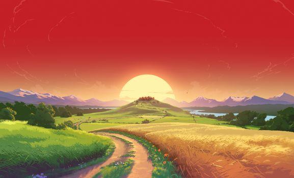 Фото бесплатно восход, поле, рисунок