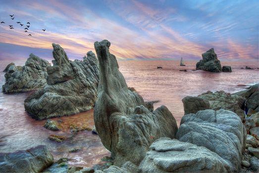 Бесплатные фото Льорет-де-Мар,Коста Брава,Каталония,Costa Brava,море,океан,скалы,закат,пейзаж