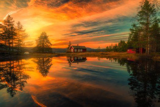 Фото бесплатно Norway, озеро, домик