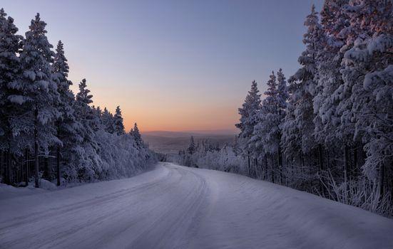 Бесплатные закат, зима, дорога красивые обои на рабочий стол