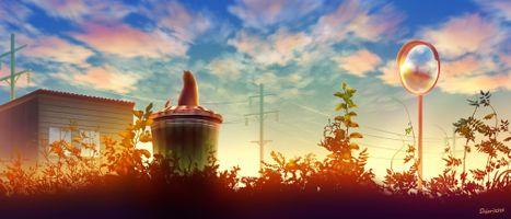 Фото бесплатно аниме пейзаж, котенок, корзина