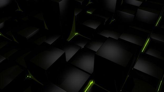 Фото бесплатно компьютер, кубики, темнота