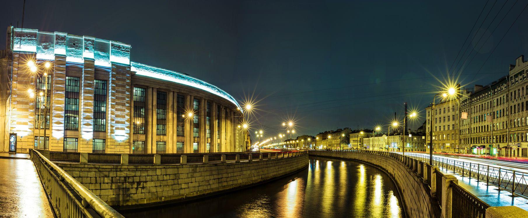 Фото бесплатно Санкт-Петербург, Россия, город, ночь, иллюминация, панорама, город