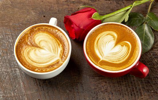 Photo free coffee, heart shape, red rose