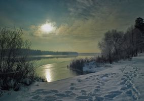 Фото бесплатно ночь, зима, река