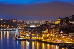 Бесплатные фото Порто,Португалия,город,ночь,иллюминация