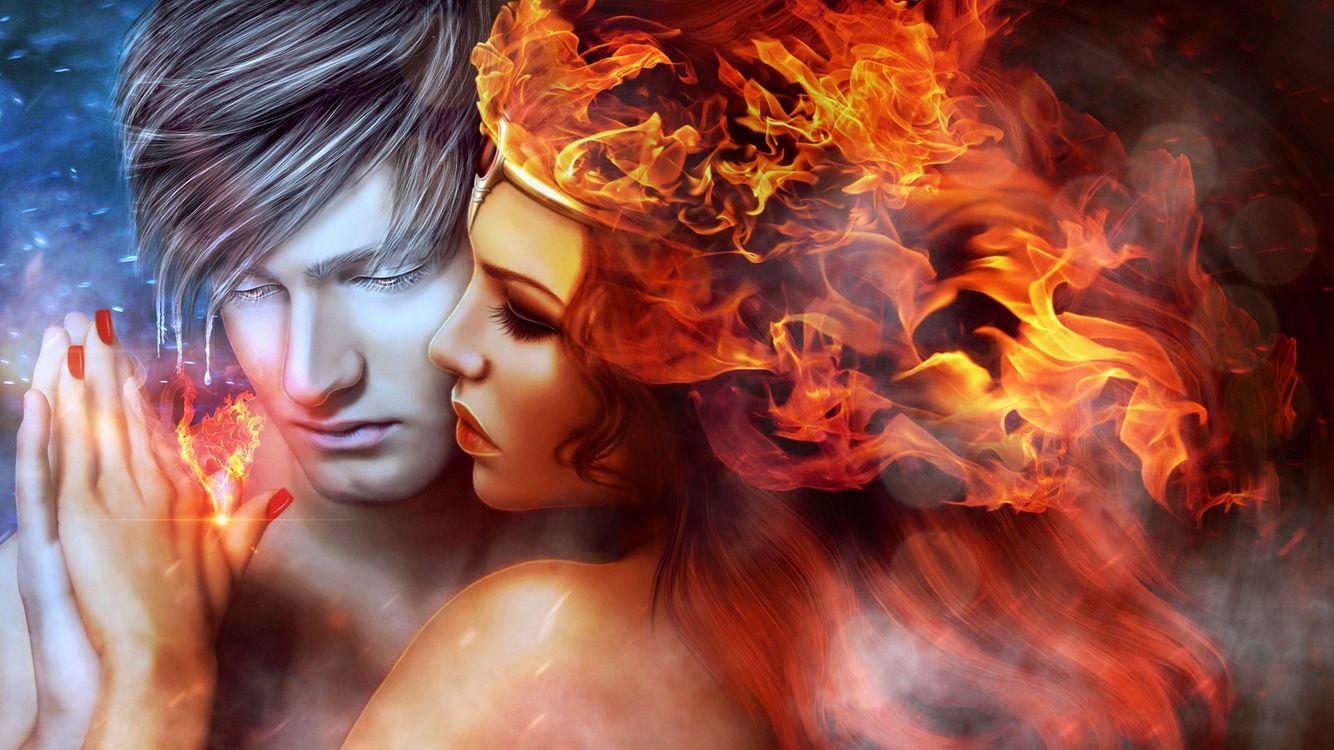 Обои любовь, огонь, пламя, девушка и парень, art, фантазия картинки на телефон