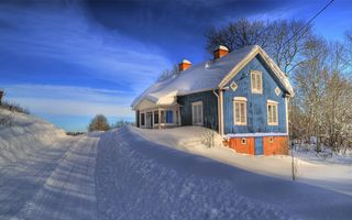 Заставки дом, зима, тучи