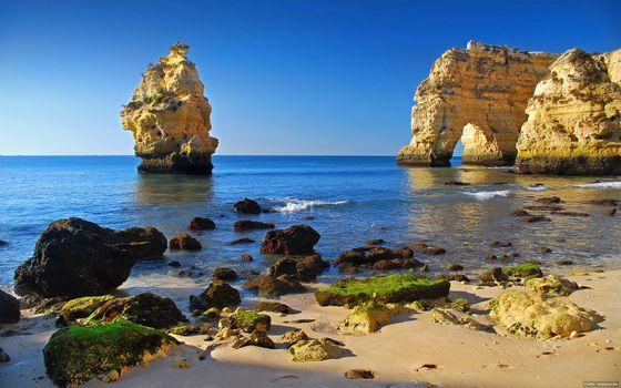 Фото бесплатно пляж, море, лето, камни, ил, скалы