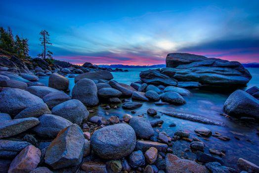 Бесплатные фото Lake Tahoe,Калифорния,озеро Тахо,закат,сумерки,камни,пейзаж