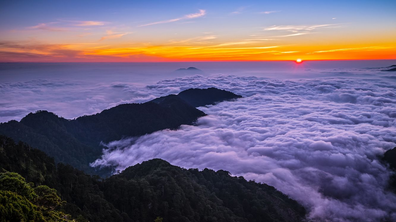 Фото бесплатно Море облаков, Облачное море, Гора ХеХуан, Тайвань, закат, пейзаж, пейзажи