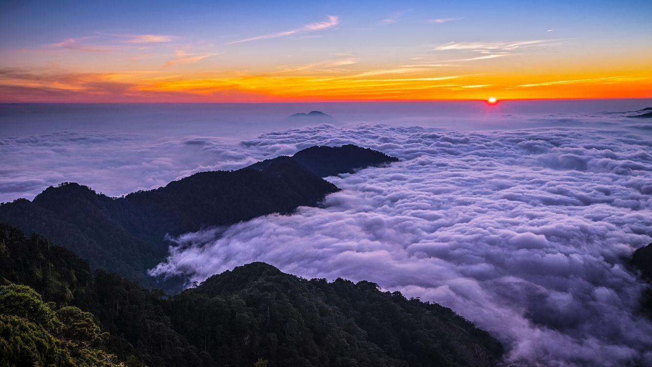 Фото бесплатно Море облаков, Облачное море, Гора ХеХуан - на рабочий стол