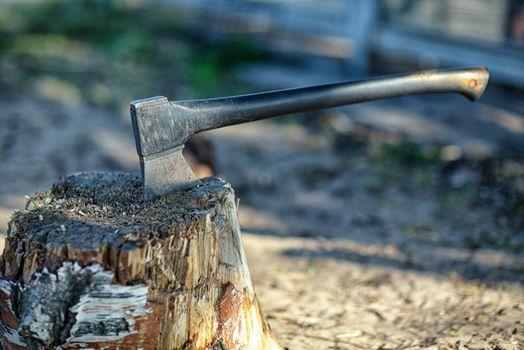 Фото бесплатно пень, топор, железный топор