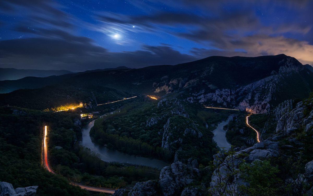 Фото дорога гора ночь - бесплатные картинки на Fonwall