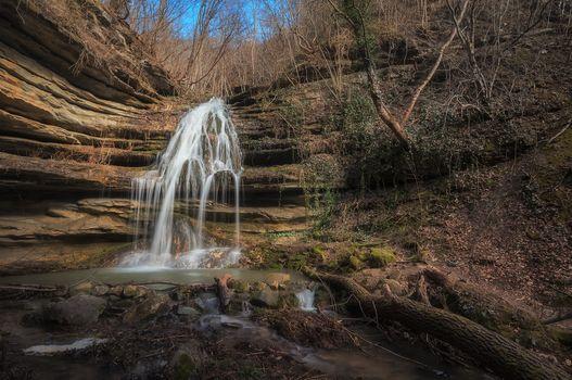 Photo free waterfall, brook, rocks