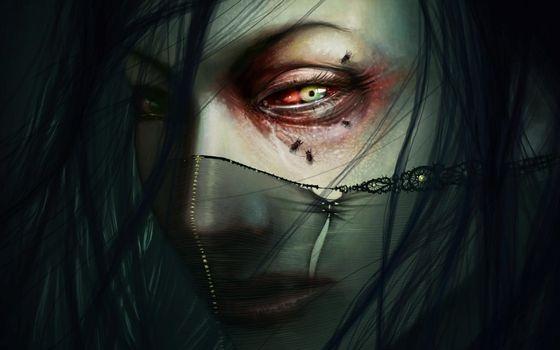 Заставки искусство, темно, глаза