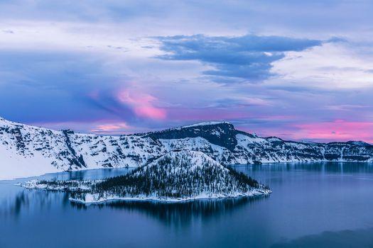 Заставки Crater Lake,Southern Oregon,Crater Lake National Park,Кратерное озеро,штат Орегон,США,зима,закат,пейзаж
